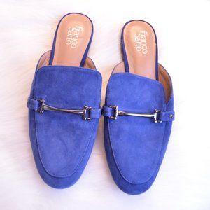 Franco Sarto Blue Suede Buckle Slide Mules Sz 9
